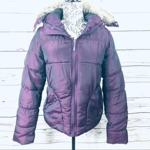 Bench Iridescent Hooded Winter Jacket Faux Fur S